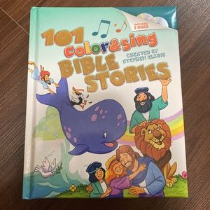 101 Color & Sing Bible Stories Book with CDs-New